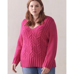 🆕 Pink V-Neck Cable Knit Sweater Additionelle X